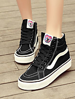 Women's Shoes Canvas  Platform/Comfort/Round Toe Fashion Sneakers Outdoor/Casual Black/Dark Blue/Red