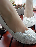 Women's Shoes Leather Low Heel Heels/Round Toe Pumps/Heels Wedding/Party & Evening White
