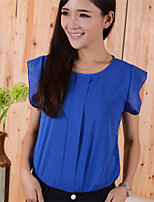 Women's Solid Blue/Red/Green Blouse , Round Neck Short Sleeve