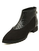 Women's Shoes Low Heel Pointed Toe Boots Casual Black/White