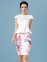 Women's Print White Skirts , Print/Work Above Knee