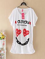 Women's Print Red/Black T-shirt , Round Neck Short Sleeve