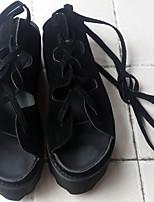 Women's Shoes Faux Leather Flat Heel Peep Toe Sandals Casual Black