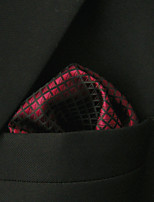 Men's Casual Checked Burgundy Silk Pocket Square