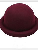 Women Vintage Candy Color  British Folding Edge Wool Bowler Hats