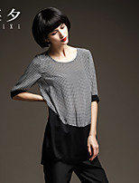 Women's Polka Dot/Patchwork/Color Block White T-shirt , Round Neck ½ Length Sleeve