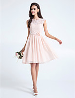 Homecoming Knee-length Lace Bridesmaid Dress - Pearl Pink A-line Scoop