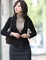 Women's Black/Beige/Gray Blazer , Casual/Work Long Sleeve