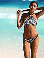 De las mujeres Bikini - Floral Sujetador sin Acolchado - Halter - Poliéster