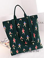 Women 's Canvas Shopper Shoulder Bag - Blue/Green/Brown/Red/Gray/Black