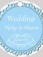 Personalized Circular Wedding Favor Tags - Blue Design (Set of 36)