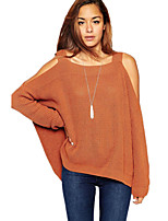 Women's Sexy Off the Shoulder Batwing Long Sleeve Side Split Loose Knitted Sweater