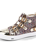 HOBIBEAR Girls' Shoes Outdoor/Casual Comfort Bling Shiny Leatherette Fashion Sneakers Black/Gold