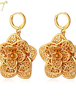 U7® Women's Hollow Flowers Earrings Retro Fashion Gold Jewelry 18K Real Gold/Platinum Plated Exquisite Drop Earrings