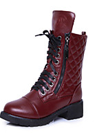 Women's Shoes  Flat Heel Round Toe Boots Casual Black/Burgundy