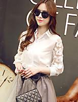 Women's Casual/Lace Inelastic ¾ Sleeve Regular Shirt (Chiffon/Lace/Spandex)