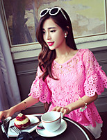 Women's Sexy/Casual  Short Sleeve Regular T-shirt Lace Blouse(Spandex)