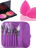 HOT SALE 7Pcs/set Purple Soft Kit Makeup Brush Tool+4 Colors Contour Face Powder Blush Makeup Palette + Powder Puff