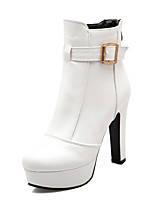Women's Shoes Chunky Heel Fashion Boots/Round Toe Boots Party & Evening/Dress Black/White/Beige