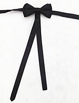 Men's Fashion Black Narrow Bowtie With Flag