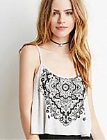 Women's Sexy Casual Print Cute Plus Sizes Micro Elastic Sleeveless Short Shirt (Cotton)