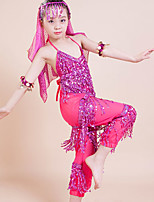 Latin Dance Outfits Children's Performance/Training Polyester Tassel(s) 5 Pieces Pink