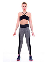 Women Cotton/Others Sport Pants Patchwork High Waisted Stretched Leggings Gym Fitness Pants Running Workout Wear