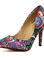 Women's Shoes Fabric Stiletto Heel Pointed Toe Pumps/Heels Casual Blue/Yellow