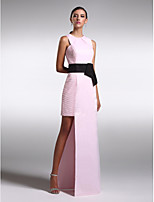 Formal Evening Dress - Blushing Pink Sheath/Column Jewel Floor-length Satin