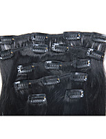18 Inch 7Pcs/70g Clip in Brazilian Human Hair Extensiiion Silky Straight #1 Jet Black