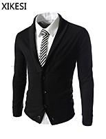 Men's Casual/Work Pure Long Sleeve Regular Blazer (Cotton Blend) XKS7A04
