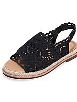 Women's Shoes Tulle Flat Heel Open Toe Sandals Casual Black/Beige