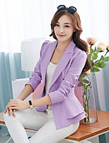 Women's Solid Blue/Red/White/Black/Yellow/Purple Blazer , Casual/Work Shirt Collar Long Sleeve