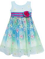 Girls Blue Chiffon A-Line Flower Print Party Wedding Pageant Baby Kids ClothingDresses (Chiffon+Cotton)