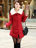 Women's Casual Long Sleeve Long Parka (Cotton)