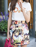 Women's Sexy Casual Cute Plus Sizes Micro Elastic Short Sleeve Regular Set (Cotton)