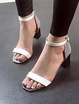 Women's Shoes Chunky Heel Styles Sandals Casual Black/White