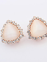 Women's European Style Fashion Elegant Opal Rhinestone Alloy Stud Earrings