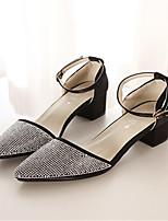 Women's Shoes Silk Chunky Heel Pointed Toe Pumps/Heels Office & Career/Casual Black/Pink/Purple/Silver