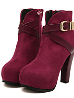Women's Shoes Fleece Chunky Heel Heels/Round Toe/Closed Toe Boots Casual Black/Burgundy