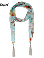D Exceed  Women Chinese Style Chiffon Scarves with Silver  Alloy Tassel  Butterfly Print Jewelry Scarfs