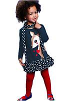 Girls' Spring Autumn Dresses Long Sleeve Deer Printing One Piece Dresses + Dot Scarf 2pcs Sets (Cotton)