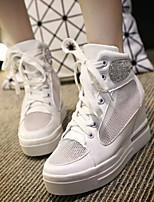 Zapatos de mujer Tul/Semicuero Tacón Cuña Comfort/Punta Redonda/Punta Cerrada Sneakers a la Moda Exterior Rosa/Plata