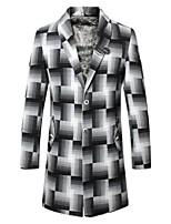Men's Long Sleeve Long Blazer , Cotton Plaids & Checks