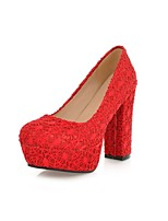 Women's Shoes Canvas Chunky Heel Round Toe Pumps/Heels Office & Career/Party & Evening/Dress Black/Red/Beige