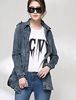 Women's Leisure Slim Turndown Collar Long Sleeve Denim Jacket