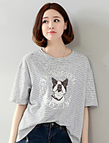 Women's Print/Patchwork Gray T-shirt , Round Neck Short Sleeve
