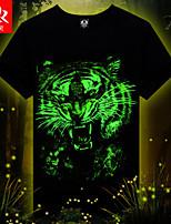 Men's Summer fashion Luminous Light Emitting Casual Print Short Sleeve 3D Regular T-Shirt (Cotton/Lycra)