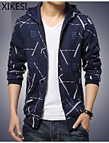 Men's Casual/Work Print Long Sleeve Regular Jacket (Cotton/Polyester)XKS7B10