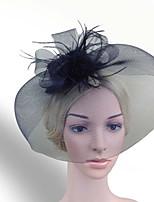 Women Fabric Hair Clip , Party Mesh / Feather Veil Headpiece